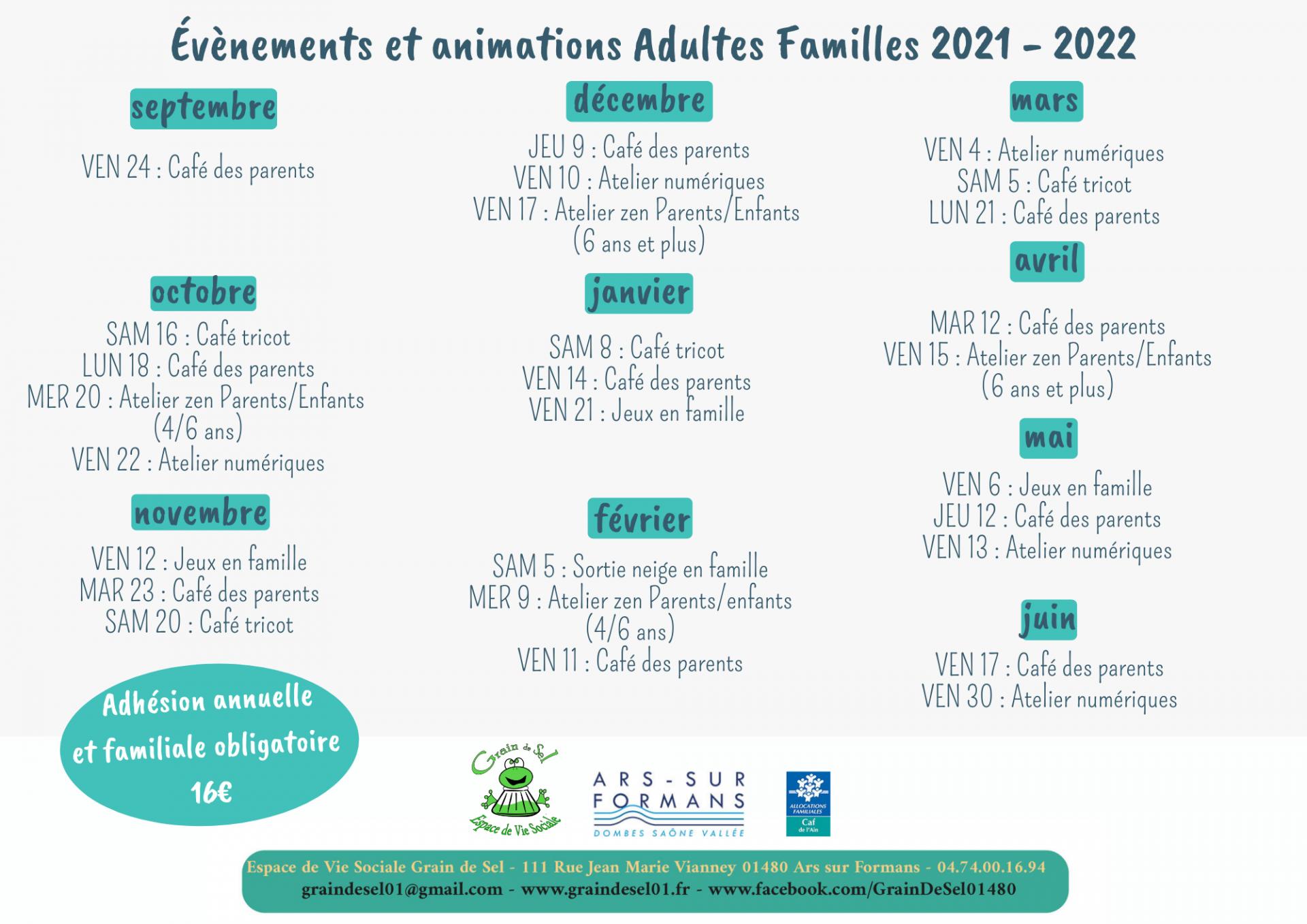 Evenements et animations adultes familles 2021 2022