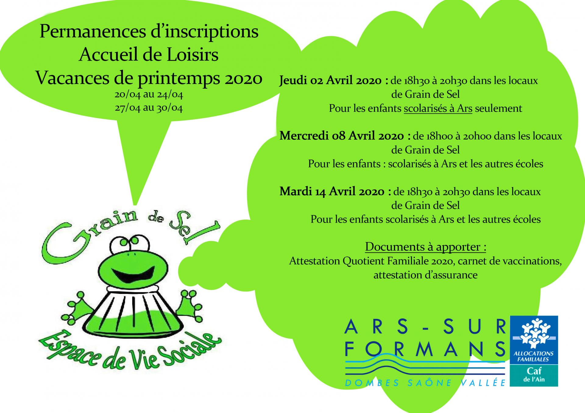 Permanances d inscriptions avril 2020